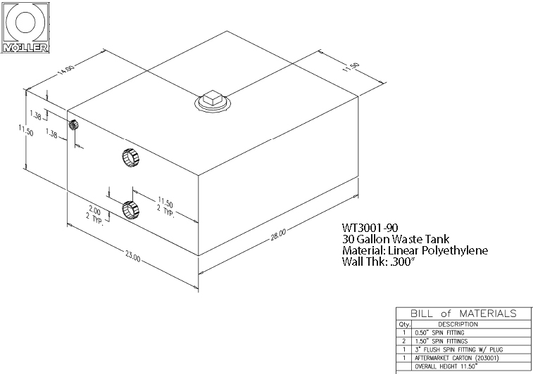 30 Gallon Rectangular Shaped Waste/Water Tank, 28″x23″x11.5″, WT3001-90