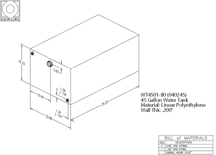 45 Gallon Rectangular Shaped Waste/Water Tank, 35.25″x20.88″x15.25″, WT4501-80 (040245)