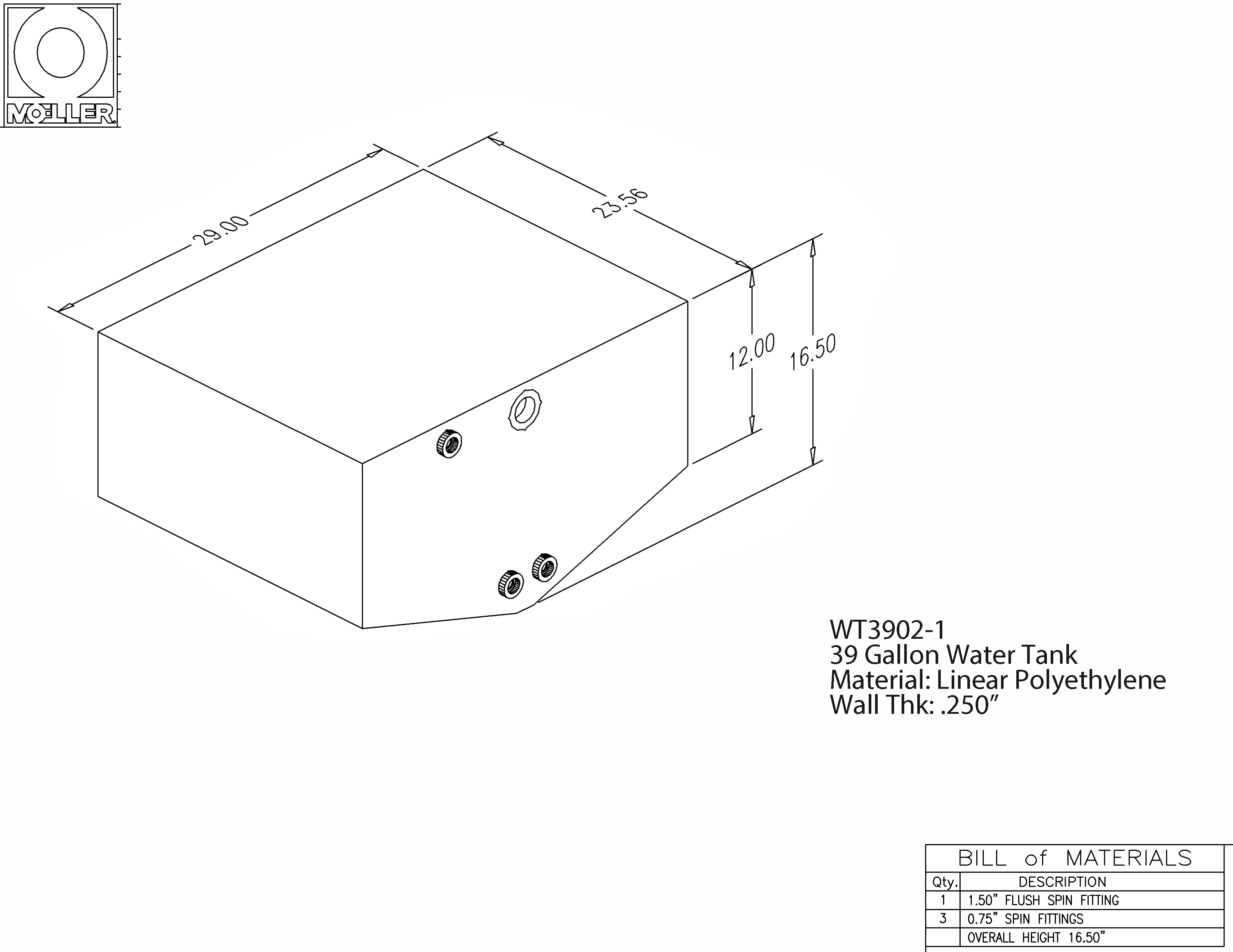39 Gallon Keel Shaped Waste/Water Tank, 29″x23.56″x16.5″, WT3902-10