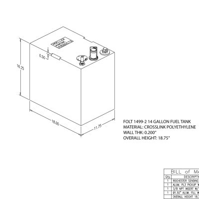 14 gallon rectangular shaped fuel tank FOLT1499-2