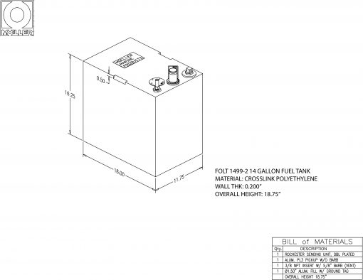 14 gallon rectangular shaped fuel tank FOLT1499-2