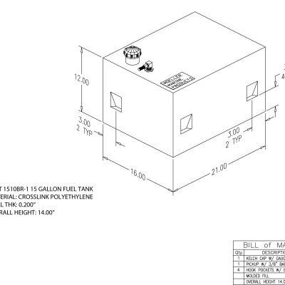 15 Gallon Rectangular Shaped Fuel Tank FOLT1510BR-1