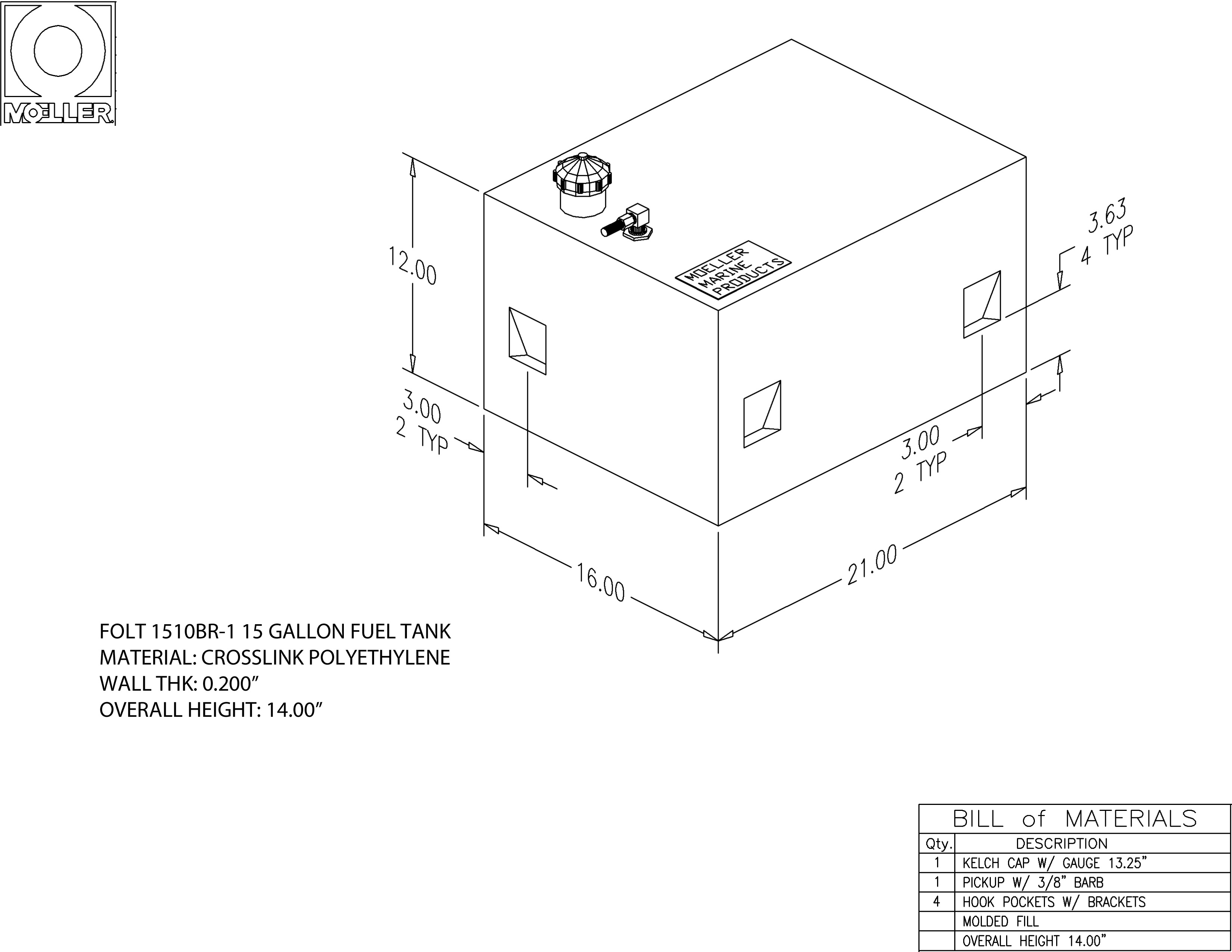 15 Gallon Rectangular Shaped Fuel Tank, 21″ x 16″ x 12″ FOLT1510BR-1