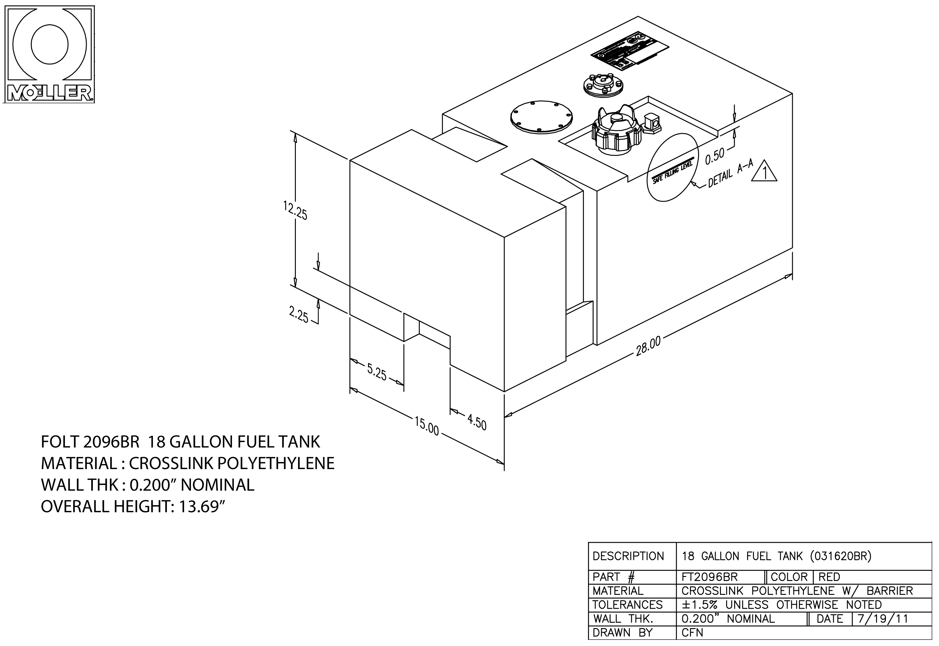 18 Gallon Rectangular Shaped Fuel Tank, 28″ x 15″ x 12.37″, FOLT2096BR